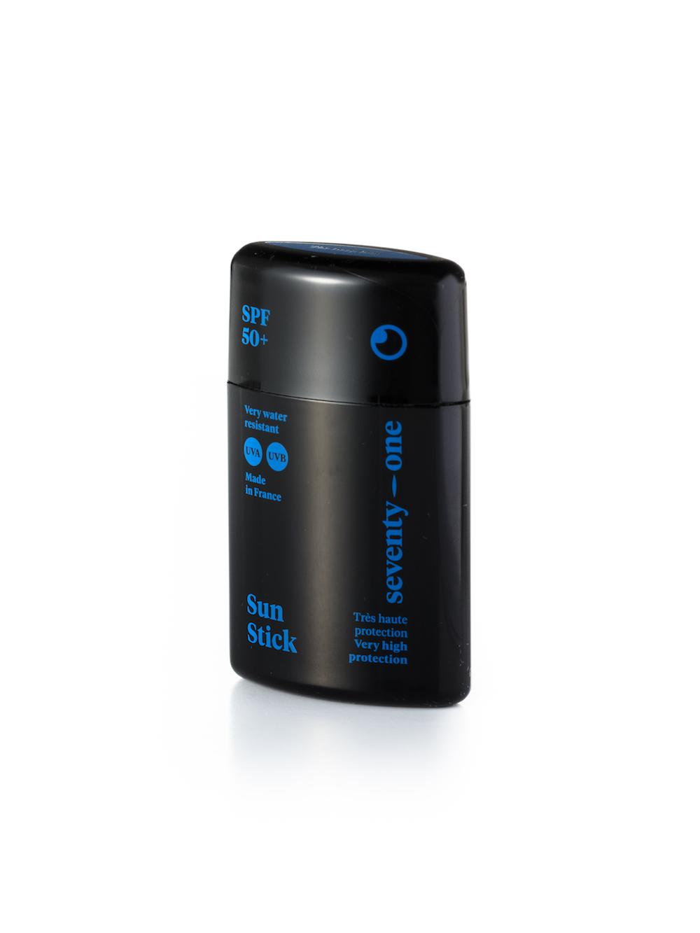 Sun Stick SPF 50+ c'est la très haute protection solaire des zones sensibles et du visage de Seventy One.