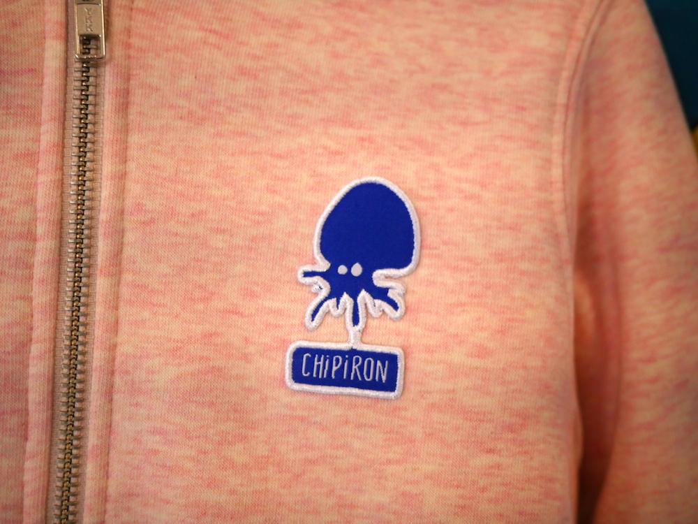Sweat zip Mini Patch kid rose - détail