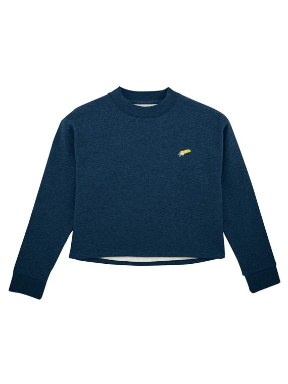 sweat-shirt crop mini patch bleu