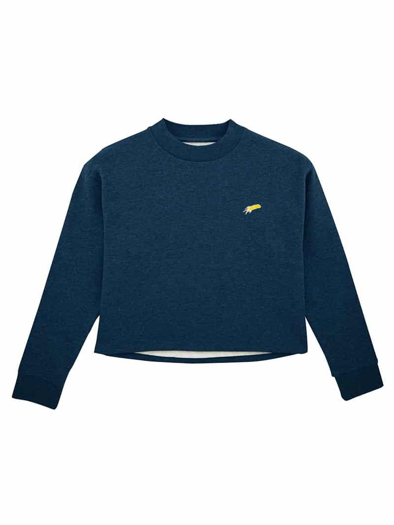 sweat-shirt crop mini patch bleu