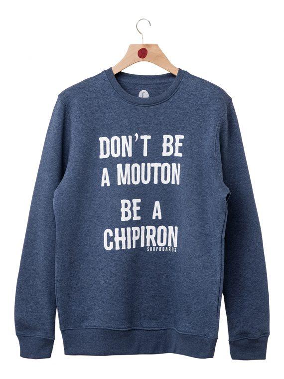 Sweat crew neck don't be a mouton Chipiron bleu