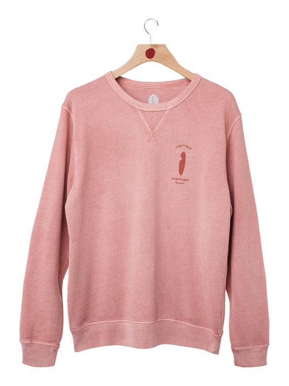 Sweat col rond Pastel Surf Love rose vintage Chipiron