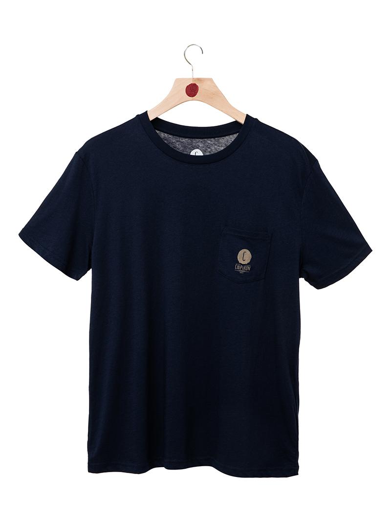 tshirt bleu logo pocket backprint Chipiron front