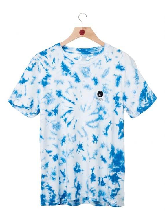 Tshirt logo line tie and dye bleu