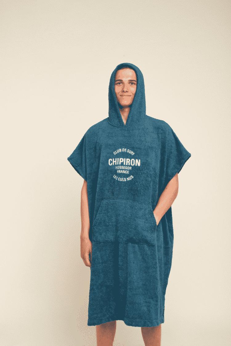 Poncho de surf adulte bleu gris Chipiron Hossegor en coton