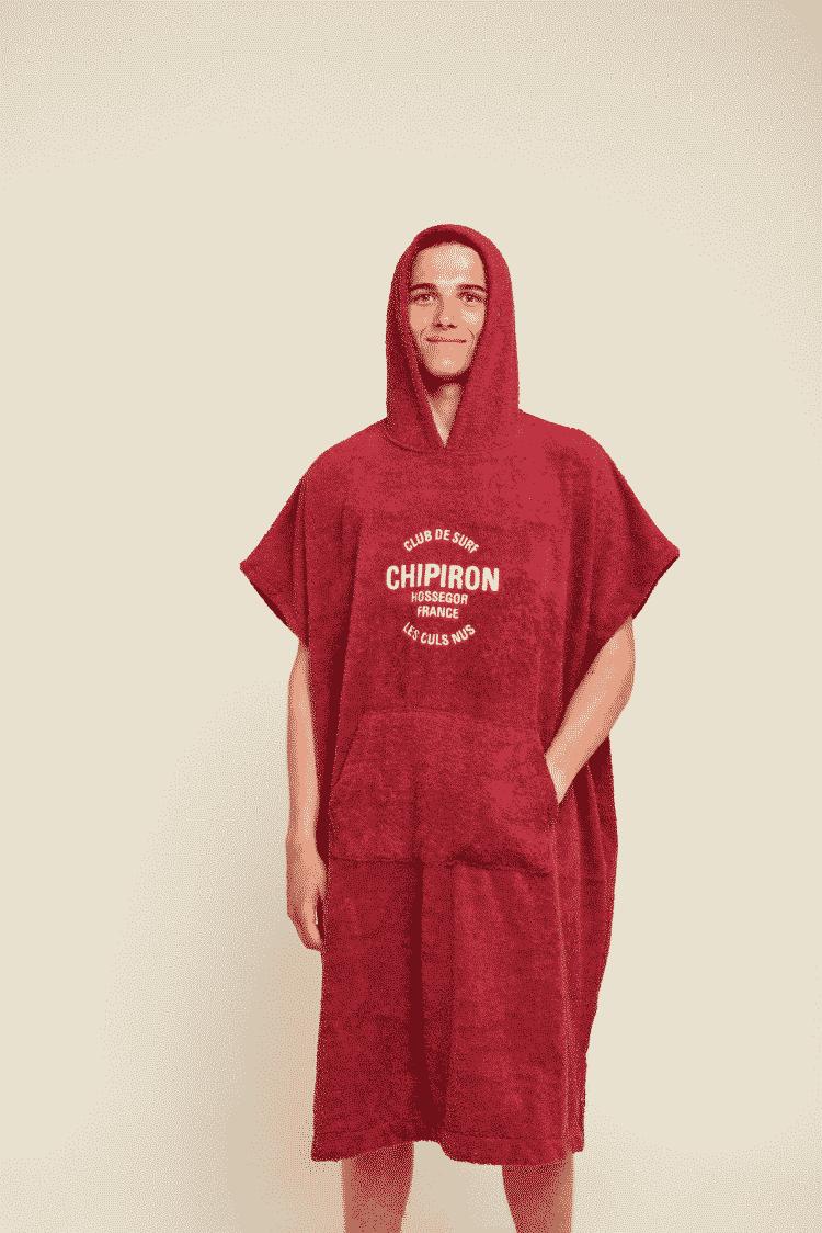 Poncho de surf adulte rouge Chipiron Hossegor en coton