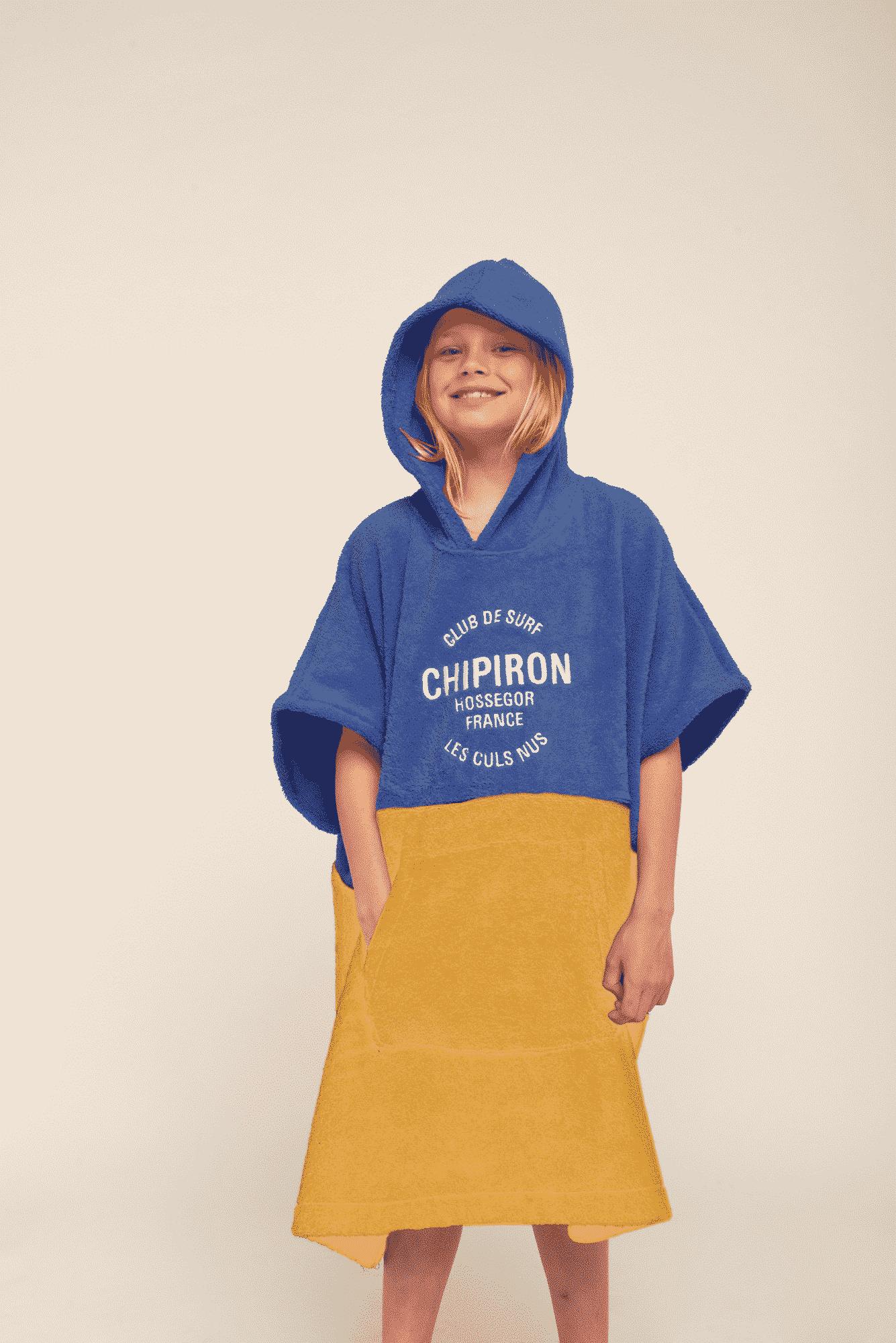 Poncho de surf Enfant bleu royal / jaune