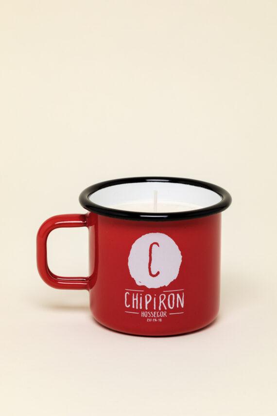Bougie de surf dans mug en émail rouge Chipiron