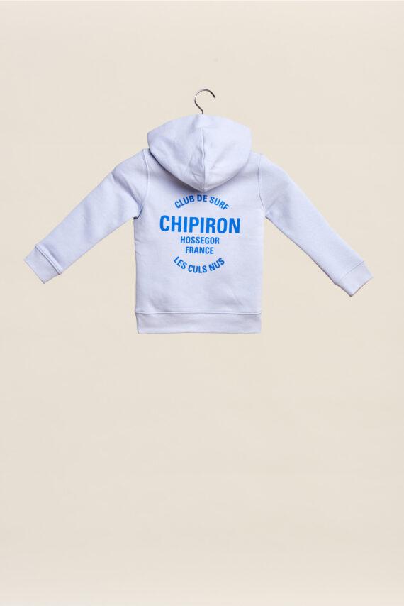 Sweatshirt à capuche chipiron club de surf bleu hossegor les culs nuls back print Front print enfant
