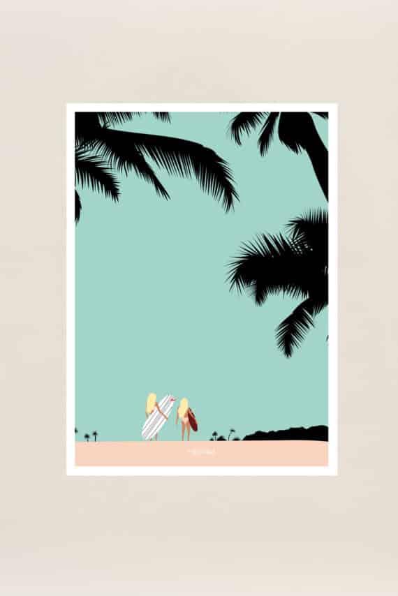 affiche souvenir gone surfing hossegor par Viktoria 30x40 cms