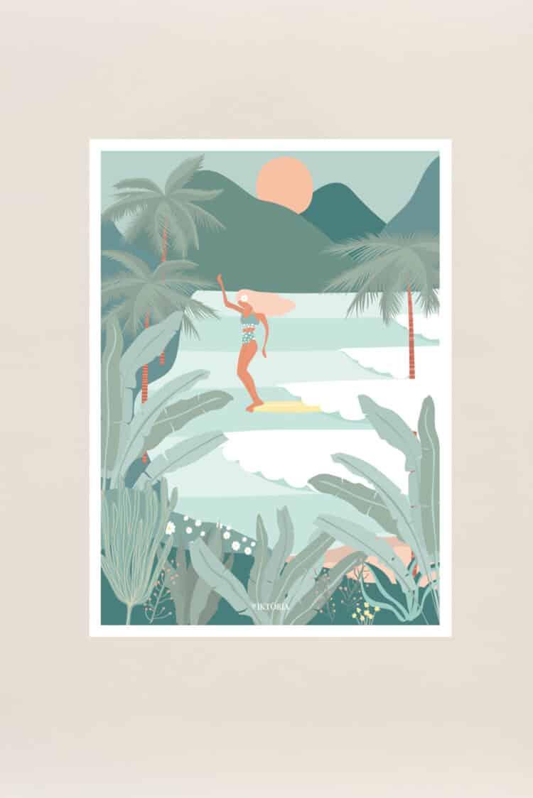 affiche souvenir hossegor surf Chipiron