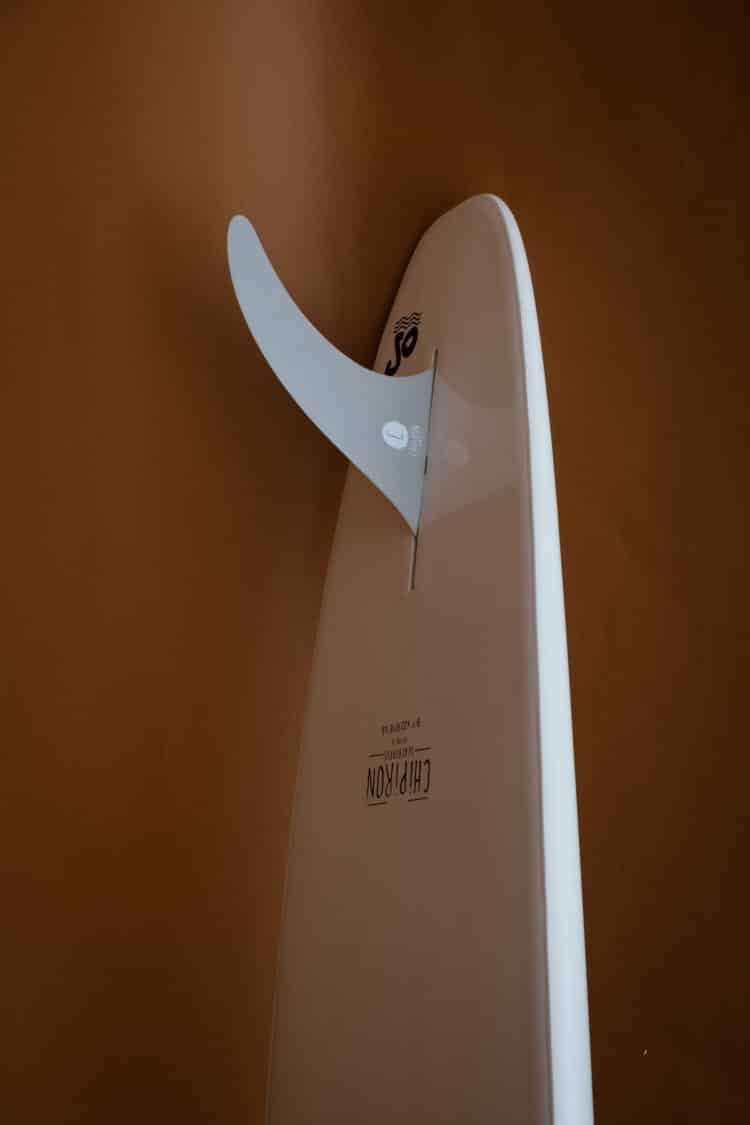 Photo détail du nose sur le longboard en mousse Chipiron surfboards