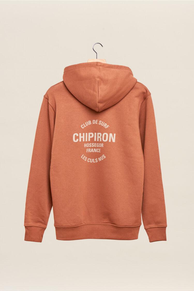 Sweatshirt à capuche chipiron club de surf caramel hossegor les culs nuls back print Front print adulte