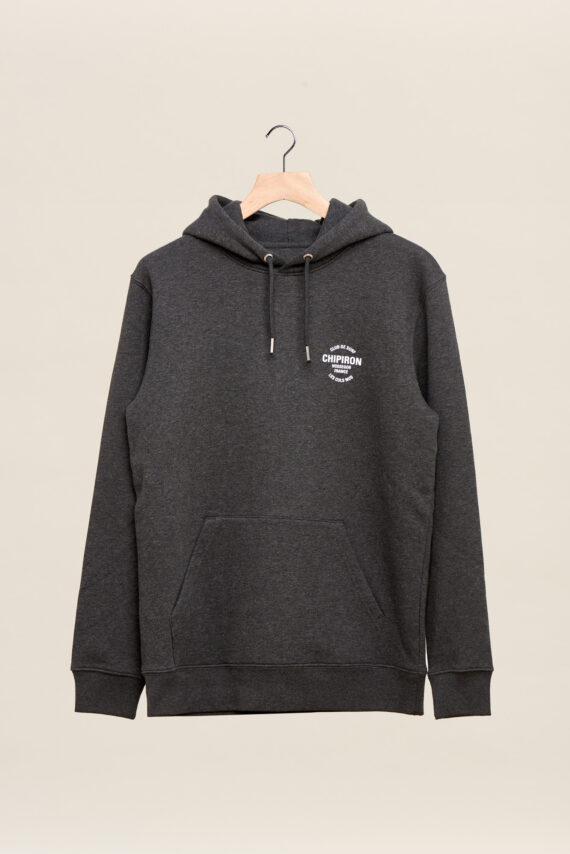 Sweatshirt à capuche chipiron club de surf anthracite hossegor les culs nuls back print Front print adulte