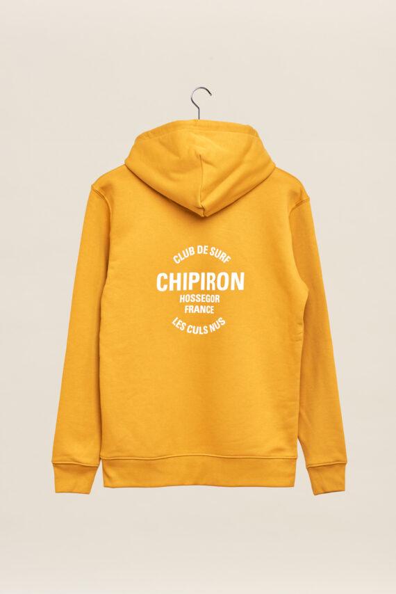 Sweatshirt à capuche chipiron club de surf ocre hossegor les culs nuls back print Front print adulte