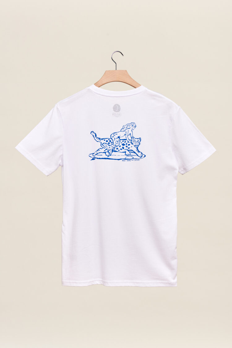 Tee shirt chipiron blanc aurelie andres hossegor back print Front print vagues art
