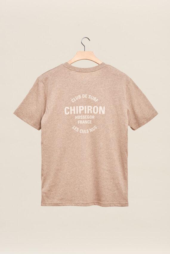 tee-shirt chipiron club de surf beige sable hossegor les culs nuls back print Front print adulte