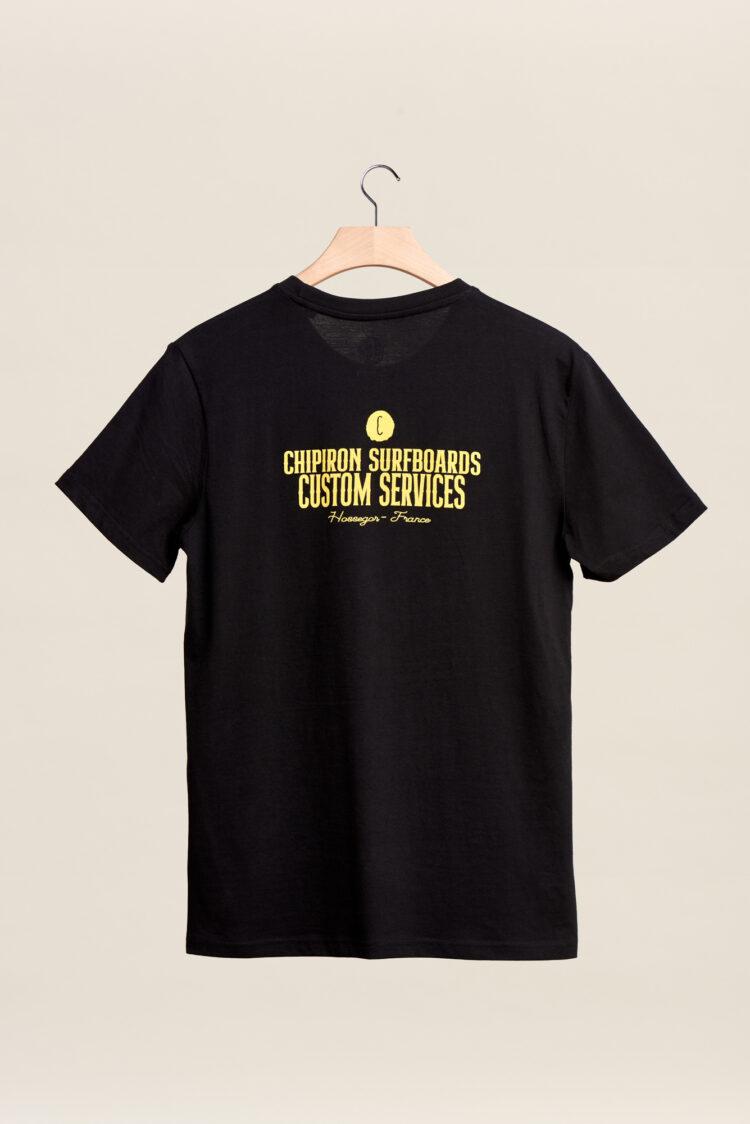 tee shirt custom services chipiron surf hossegor backprint Front print noir adulte