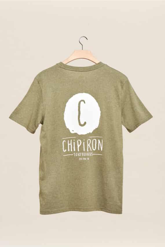 tee shirt chipiron surf surfboards logo back print front print hossegor les landes olive adulte