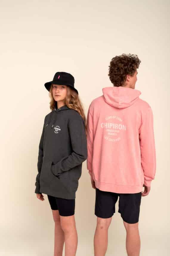 sweat à capuche rose ou gris Club de surf Hossegor