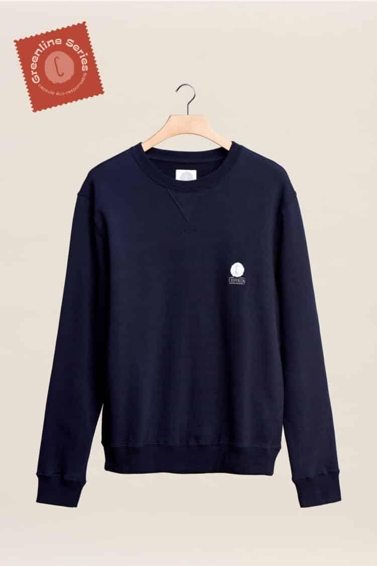 Nouveau sweat-shirt col rond bleu marine greeline séries la ligne éco responsable par Chipiron