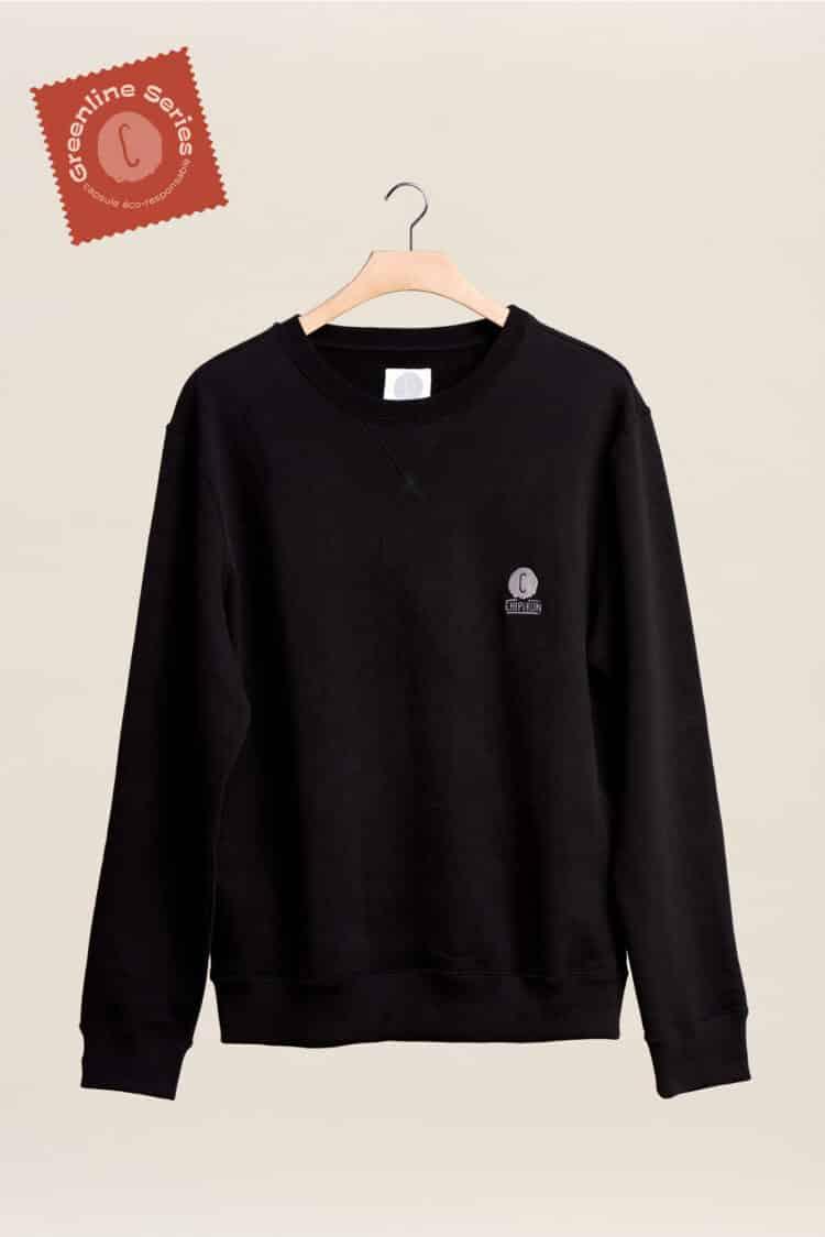 Nouveau sweat-shirt col rond noir greeline séries la ligne éco responsable par Chipiron
